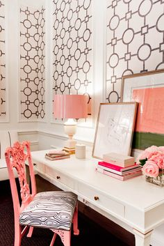 wallpaper panels, blush accents