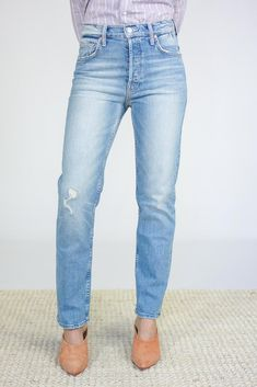 Mother Denim Tom Cat Ankle Jeans - Gospel Grace on Garmentory Mother Denim, Vintage Silhouette, Ankle Jeans, Thighs, Toms, Skinny, Model, Cotton, How To Wear