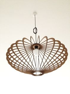 A pendel lamp laser cut from 3 mm MDF sheets. Laser Cut Lamps, Laser Cut Mdf, 3d Laser, Laser Cutting, Wood Pendant Light, Pendant Lamp, Pendant Lighting, Deco Design, Lamp Design
