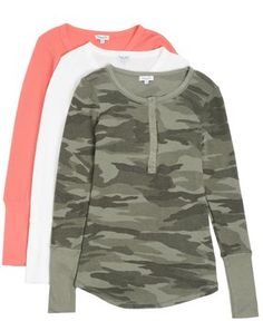 Splendid Long Sleeve Camo Henley Gift Set  FINAL SALE Set of three Splendid staple tops Easy, effortless henley shirtin assorted colorways and prints Makes a great gift for the holidays Slim fit, great for layering Round collar with short button placket Long sleeves with extra long cuff detail Shirttail hem 48% Pima Cotton - 48% Modal - 4% Spandex Stretchy knit Retains shape well Super soft and comfy Made in the USA