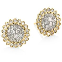 Pleve Ice Diamond & 18K Yellow Gold Flower Stud Earrings ($4,145) ❤ liked on Polyvore featuring jewelry, earrings, apparel & accessories, gold, flower stud earrings, 18k diamond earrings, flower earrings, diamond flower earrings and post earrings