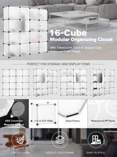 $16.99 LANGRIA 16 Cube Organizer Stackable Plastic Cube Storage