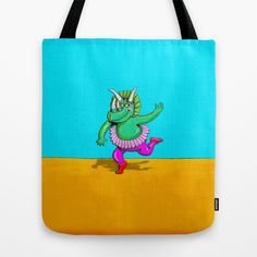 Sugarplum Triceratops Tote Bag by Peter Gross - $22.00