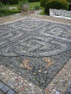 Pebble mosaics in the garden.
