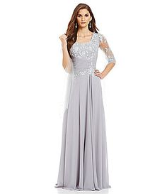 Beautiful mother's dress? VM by Mori Lee Lace Illusion Sleeve Gown #Dillards