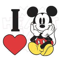 Printable DIY I heart love Mickey Mouse Iron on by MyHeartHasEars DIY iron on transfer for t-shirts Walt Disney, Disney Magic, Disney Art, Mickey Love, Mickey Y Minnie, Mickey Mouse And Friends, Baby Mickey Mouse, Mickey Mouse Cartoon, Mickey Mouse Pictures