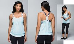 Lululemon Rest Less Tank $64.00 Heathered Aquamarine/Groovy Stripe Cadet Blue, sz 10.  2014