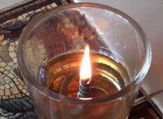 This homemade lamp burns used vegetable oil.