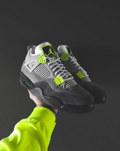 Air Jordan 4 Retro Neon Air Max 95 CT5342-007 Jordan 4, Jordan Retro, Sneakers Fashion, Fashion Shoes, Sneakers Nike, Air Max 95 Neon, Air Jordan Shoes, E Design, Shoe Collection