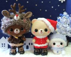 Adorable little needle felted critters by Cafe Momo Felt from Japan