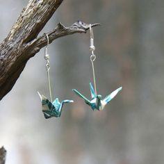 Origami Crane Earrings by JojiCreations on Etsy
