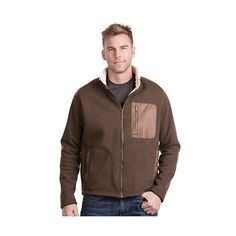 Canterbury Fleece Jacket with Leather Trim (17.120 RUB) ❤ liked on Polyvore featuring men's fashion, men's clothing, men's outerwear, men's jackets, mens fleece lined jacket, mens zip jacket, mens fleece jacket, mens long jacket and mens full zip fleece jacket