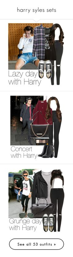 """""""harry syles sets"""" by justinbieber-zaikara ❤ liked on Polyvore featuring Topshop, Reis, Equipment, Converse, Goti, OneDirection, harrystyles, 1d, harry styles one direction 1d and Wilfred"""