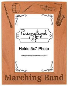 Marching Band Gift School Band Mom or Dad Natural Wood Engraved 5x7 Portrait Picture Frame Wood * Details can be found by clicking on the image.