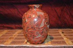 "Orange Fish and Frog Enamel Planter/Vase Clay Art Pottery 6""x3 3/4"""