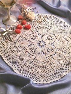 Toalha de crochê redonda com gráfico – Certas tarefas artesanais, ocultas pela exploração do exercíc