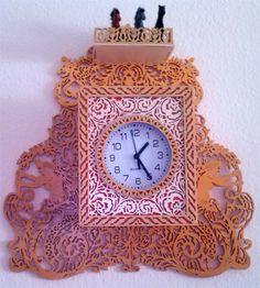 Sirens and chimeras wall clock, scroll saw fretwork pattern