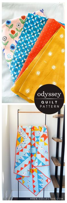 """Odyssey quilt pattern from Rachel of wren-collective.com. This quilt pattern packs a bold bunch while utilizing two basic quilt blocks: squares and half-square triangles. This quilt is made up of nine """"mega blocks"""" for simplified construction. For confident beginner sewists and above. Easy to follow, color instructions included for five different sizes. #modernquilt #modernquiltpattern #quiltpattern #halfsquaretrianglequilt #halfsquaretriangles #babyquilt Beginner Quilt Patterns, Baby Quilt Patterns, Modern Quilt Patterns, Modern Quilting, Quilting Tips, Quilting Tutorials, Quilting Designs, Mega Blocks, Half Square Triangle Quilts"""