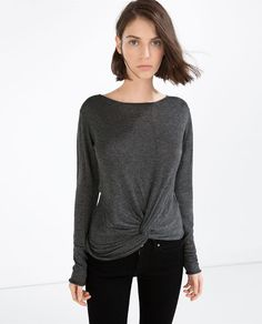 Image 1 of ASYMMETRIC SWEATER WITH KNOT from Zara