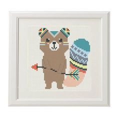 Counted cross stitch pattern baby Forest animals arrow feathers pens ethnic…