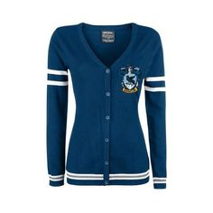 Harry Potter Cardigan ❤ liked on Polyvore featuring tops, cardigans, cardigan top, blue cardigan and blue top