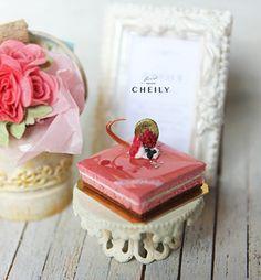Dollhouse miniature dessert- Raspberry Mousse Cake