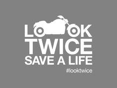 LOOK TWICE SAVE A LIFE VINYL STICKER - CRUISER EDITION