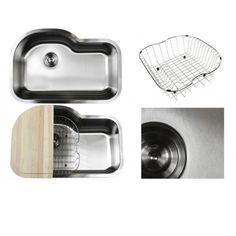 Ariel Pearl Sharp Satin 31.5-inch Premium 16-gauge Stainless Steel Undermount Single Bowl Kitchen Sink Full Accessories Kit