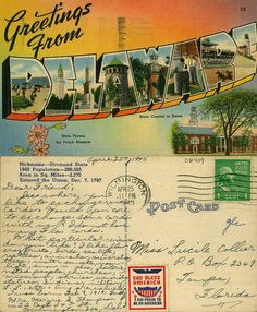 https://flic.kr/p/edYJo9 | Greetings from Delaware | Collection: Caley Postcards Filename: 9015-028-000-06409.jpg State:  County:  City/Town: Delawareana Color/BW: Color Image Type:  Publisher: Del Mar News Agency, Wilmington, Del Stamp: 1c George Washington Postmark year: 1945 Size: 5.5 x 3.5 Comments: