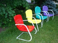 fresh paint, vintage metal lawn chairs