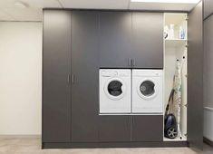 Wasmachinekast op maat | Woninginrichting-Aanhuis.nl | Woninginrichting Aanhuis Laundry Room, Washing Machine, Home Appliances, Ikea, Interior, Madness, Houses, Google, House Appliances