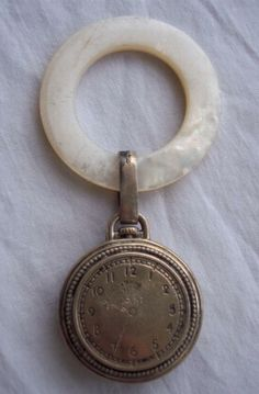 1942 Gorgeous Antique WEBSTER Sterling & MOP Baby Rattle