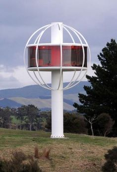 """""""The Skysphere"""" is located in Linton, New Zealand, and provides its guests with endless views of the surrounding countryside. Besides the sleek design and pretty views, the room is completely powered by solar panels, which is necessary for all of its gadgets"""