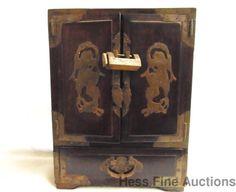 Antique Chinese Hardwood Brace Fitted Mounted Ornate Locking Jewelry Box w Key