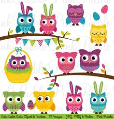 Check out Spring Easter Owl Clipart & Vectors by PinkPueblo on Creative Market