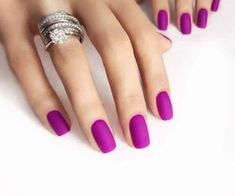 Types Of Nails Shapes, Different Nail Shapes, Nails Types, Matte Nails, Gel Nails, Nail Polish, Matte Pink, Pink Purple, Acrylic Nails