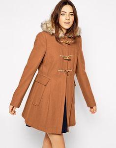 ASOS Faux Fur Hooded Duffle Coat
