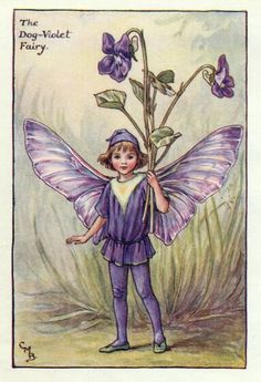Cicely Mary Barker (1895-1973) Illustration of the Dog-Violet Fairy for Flower Fairies of the Garden.