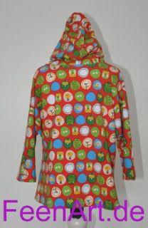 Kinderkapuzenshirt mit türkiser Eule - von hinten - Kapuze aufgesetzt