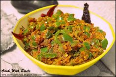 "There are days when all you need is a simple side dish with roti / rice that takes no much time to put together.Today's recipe is one such no fuss,no mess dish which is high on flavors and taste.That's ""Capsicum Zunka "" for western India or as ""Besanwali Shimla Mirch "" for Northern India.Though both the dishes are almost same ,we all know each region has its own special batch of spices.In simple its ""Capsicum Besan sabzi "" where the crunchy capsicum ..."