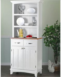 small open hutch | ... on Home Styles White Buffet With Natural Wood Top And Open Shelf Hutch