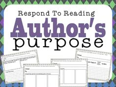 Use this Author's Purpose Reading Response page with any Fiction or Non-Fiction book.I have also created an Author's Purpose Poster to accompany these worksheets, visit my TPT store.