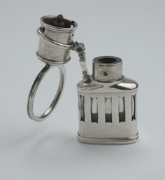 A George II silver-mounted glass Travelling Inkwell, circa 1750, maker's mark only 'PA' for Peter Archambo II, London. England, c. 1750