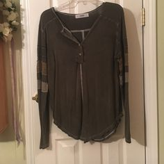 Able lace long sleeve tee Cute long sleeve that has sleeve details in mossy lace colors. Able Tops Tees - Long Sleeve