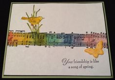 Watercolor Song by ruby-heartedmom - Cards and Paper Crafts at… Birthday Music, Birthday Thank You, Birthday Cards, Cards Diy, Cute Cards, Scrapbooking Ideas, Scrapbook Cards, How To Make Greetings, Card Making Tips