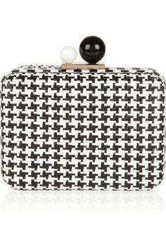 Flada Evening Clutch for Women Rectangular Flannel Simple Wedding Handbag Rhinestones