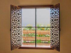 Beautiful Arabic Geometric Stained Walnut Shutters for TF Quality Woodworking in Phoenix, AZ