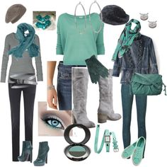 OF1- jeans, scarf, belt. N2G: grey ls tee, teal booties.  OF2- jeans, boots, belt. N2G: mint ls tee.  OF3- jean jacket, grey top, mint flats, scarf. N2G: dk green jeans, teal bag.
