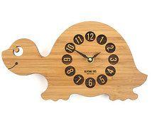 Wood Turtle Clock, Baby Nursery Decor, Bamboo Clock for Kid's Room, Eco-Friendly…