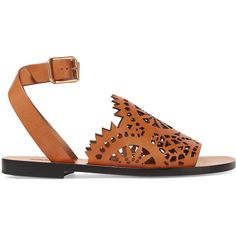 ChloéLaser-cut Leather Sandals ($910) ❤ liked on Polyvore featuring shoes, sandals, tan, real leather shoes, chloe shoes, tan sandals, leather footwear and tan shoes